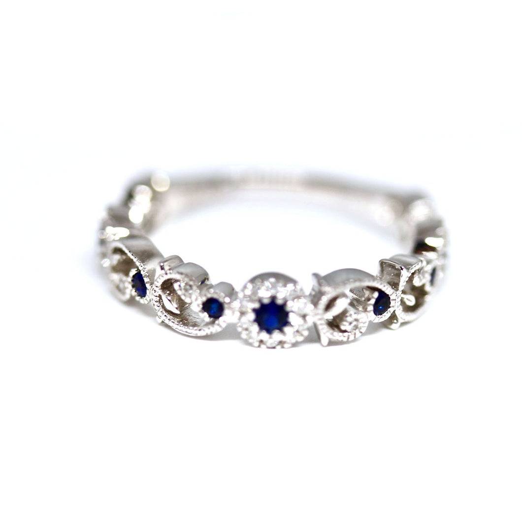 Diamondaire Round Blue Sapphire & Diamond Vine and Leaf Stackable Ring