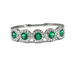 5 halo emerald and diamond ring
