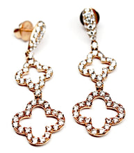 Diamond Clover Dangle Earrings