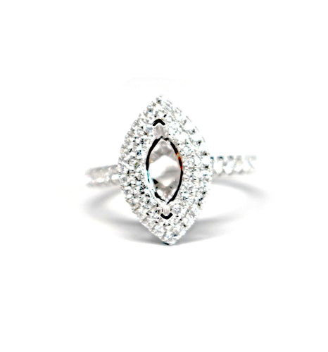 Diamondaire Double Halo Marquise Engagement Ring