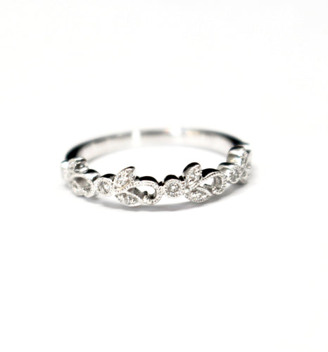 Vintage Inspired Diamond and Vine Shaped Stackable