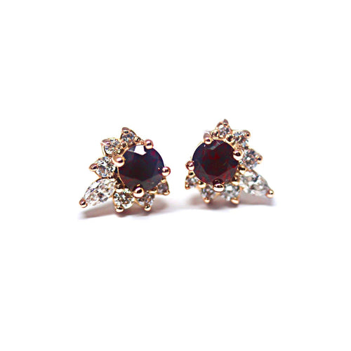 14kt Rose Gold Diamond and Round Cut Garnet Earrings