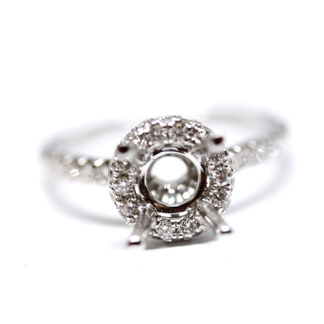 Round Shape Halo Diamond Engagement Ring