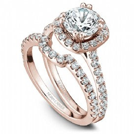 Shared Prong Halo Engagement Ring B007-01RM