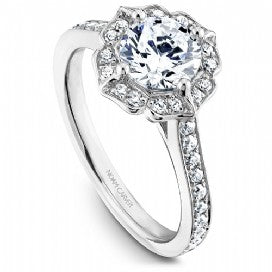 Shared Prong Halo Engagement Ring R031-01WM