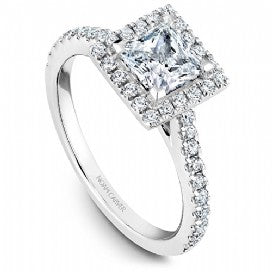 Shared Prong Halo Engagement Ring R050-06WM