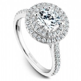 Shared Prong Halo Engagement Ring R051-01WM