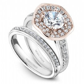 Shared Prong Two-toned Halo Engagement Ring B014-05WRM
