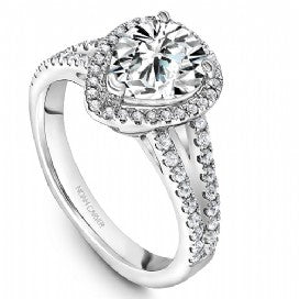 Split Shank Halo Pear Engagement Ring