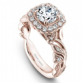 Shared Prong Halo Engagement Ring B075-01RM