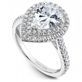 Shared Prong Halo Engagement Ring R051-03WM