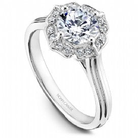 Shared Prong Halo Engagement Ring R030-01WM