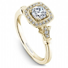 Shared Prong Halo Engagement Ring B076-01YM