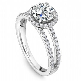 Shared Prong Halo Engagement Ring B237-01WM