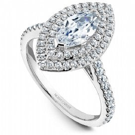 Double halo marquise engagement ring