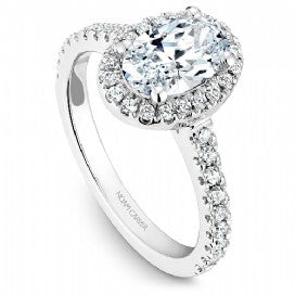 Shared Prong Halo Engagement Ring B029-03WM