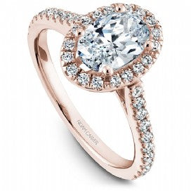 rose gold oval diamond halo engagement ring
