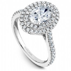 Shared Prong Halo Engagement Ring R051-02WM