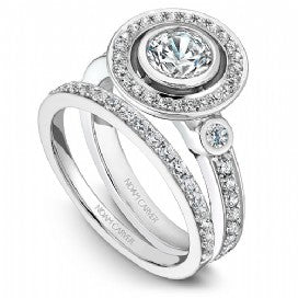 Shared Prong Halo Engagement Ring B010-01WM