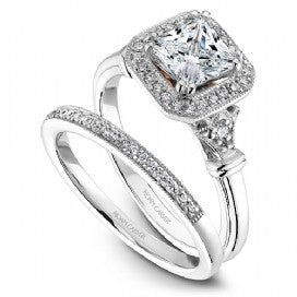 Shared Prong Halo Engagement Ring B070-01WM
