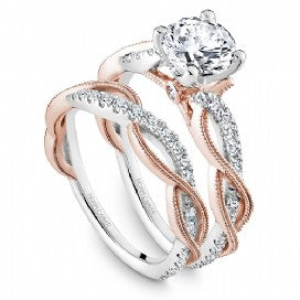 Rose and White gold braided diamond engagement ring