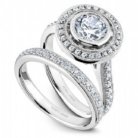 Shared Prong Halo Engagement Ring R040-02WM