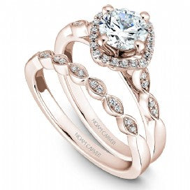 Shared Prong Halo Engagement Ring B084-01RM