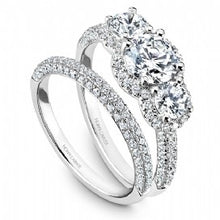 3 stone halo engagement ring with band