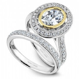 Shared Prong Halo Engagement Ring R040-01WYM