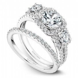 Shared Prong Halo Engagement Ring B210-01WM