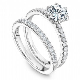 white gold shared prong wedding set