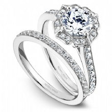 white gold antique styled halo engagement ring for round center diamond