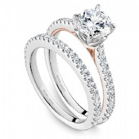 rose and white gold shared prong engagement ring by noam carver