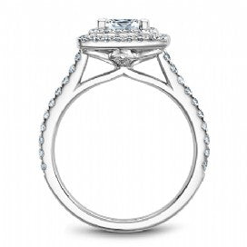 Shared Prong Halo Engagement Ring R051-06WM