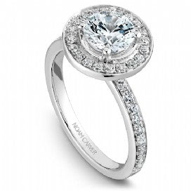 Shared Prong Halo Engagement Ring B023-01WM
