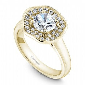 Shared Prong Halo Engagement Ring B014-03YM