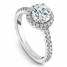 Shared Prong Halo Engagement Ring B029-01WM