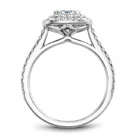 Shared Prong Halo Engagement Ring R051-05WM