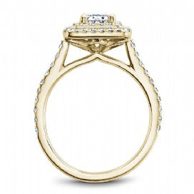 Shared Prong Halo Engagement Ring R051-04YM