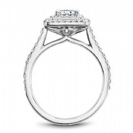 Shared Prong Halo Engagement Ring R051-04WM
