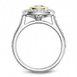 Shared Prong Halo Engagement Ring R040-03WYM