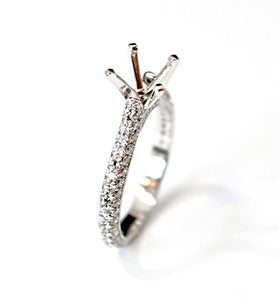 Diamondaire Diamond Pave Engagement Ring in 14kt White Gold