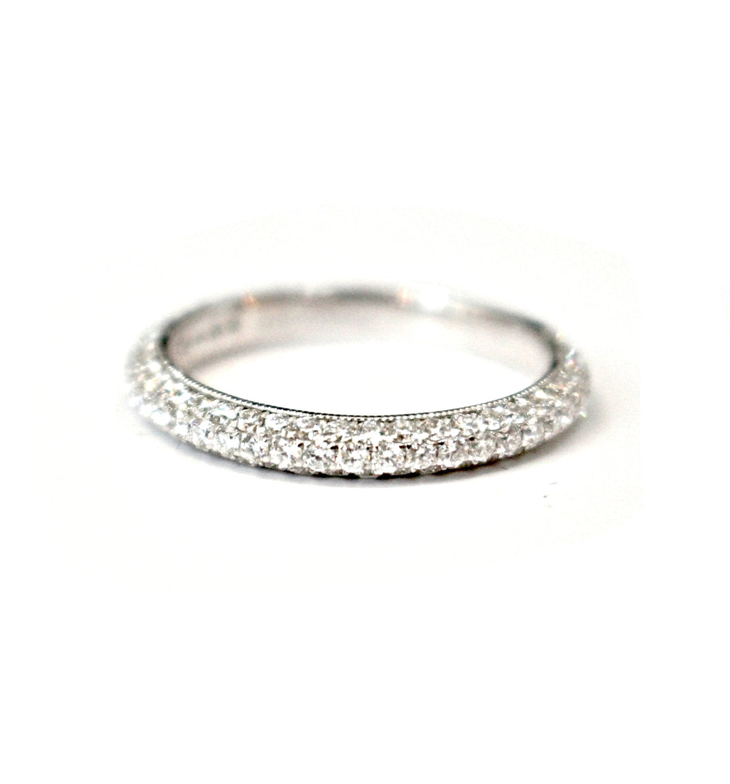 Diamondaire Diamond Pave Wedding Band in 14kt White Gold