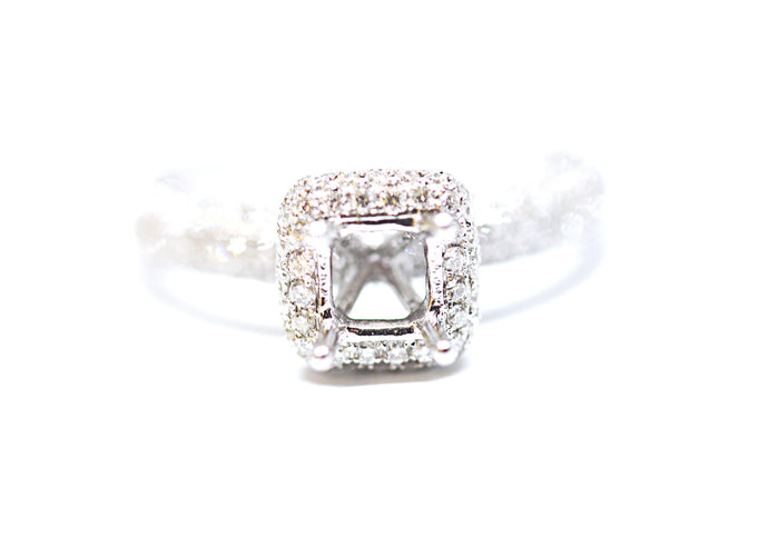 Paved Square Halo Diamond Engagement Ring