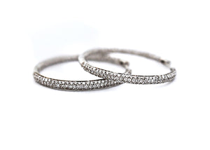 Round Diamond Pave Hoops