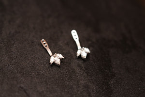 14kt White Gold Cluster Diamond Front Back Earring Jackets
