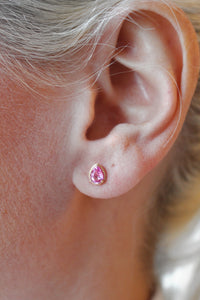 Genuine Pink Sapphire Pear Cut Earrings in 14kt Yellow Gold