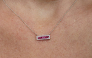 Ruby Bar Necklace with a Diamond Halo