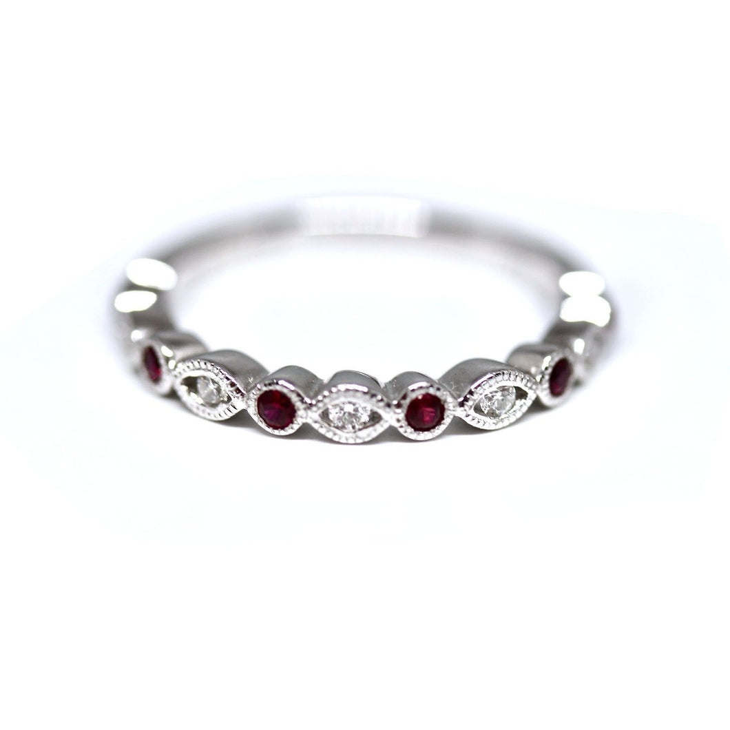 Diamondaire Round Ruby & Diamond Stackable Ring