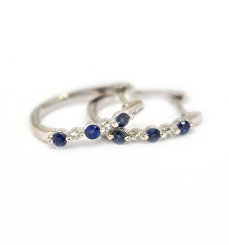 blue sapphire and diamond huggie hoops